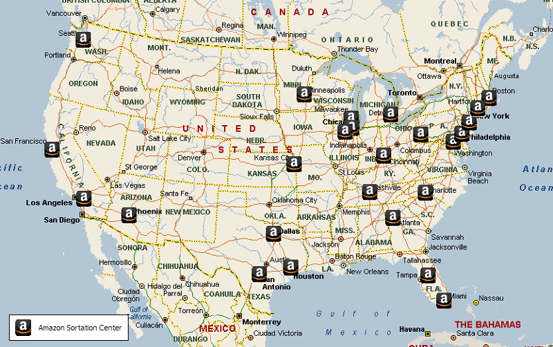 Map of USA Amazons current Fulfillment and Sortation Center networks