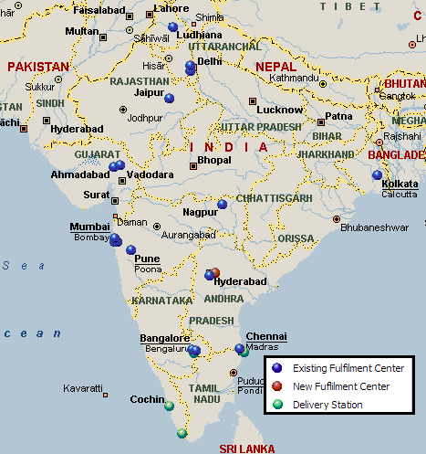 Map of Amazon India Distribution Network Distribution Network Map on